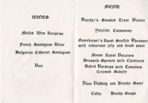 "Teaching Restaurant Menu ""A Country Manor Christmas"""" 8 December 1988 (ref D1/1694/1)"