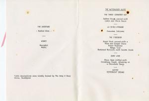 "Teaching Restaurant Menu - """"The Nutcracker Suite"""" 9 December 1988"