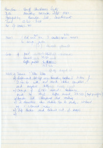 Handwritten function and menu notes for Staff Christmas Party December 21 1987