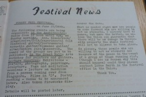 'Festival News' in Bare Facts  issue 61. 8 April 1970