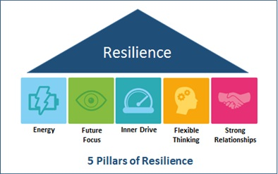 Diagram representing the 5 pillars of resilience model. Bule triangle with word 'resilience' inside over infographics of Energy (represented by a lightning bolt), Future Focus (represented by an eye), Inner Drive (represented by a speedometer on high), Flexible thinking (represented by a silhouette of a face showing thoughts), Strong Relationships (represented by a handshake)