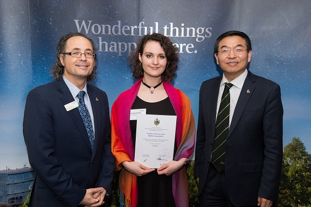 Keith Herrmann, Aisling O'Keeffe (holding Highly Commended Student of the Year certificate) and Professor Max Lu