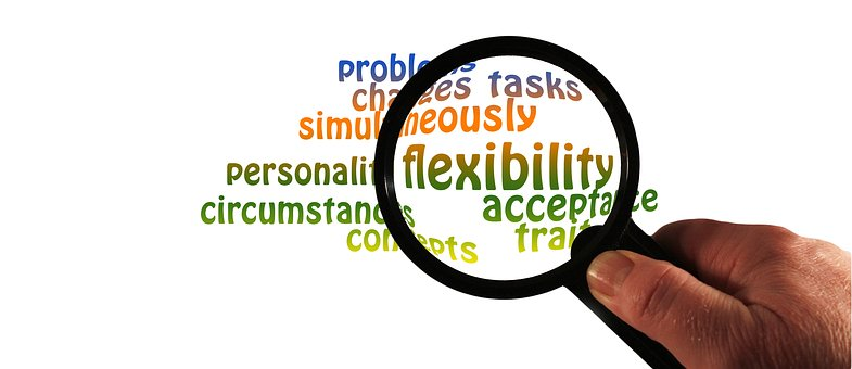 Magnifying glass magnifying the word 'flexibility' from other traits