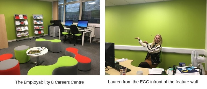 The interior of the Employability & Careers centre, Lauren showing our green feature wall