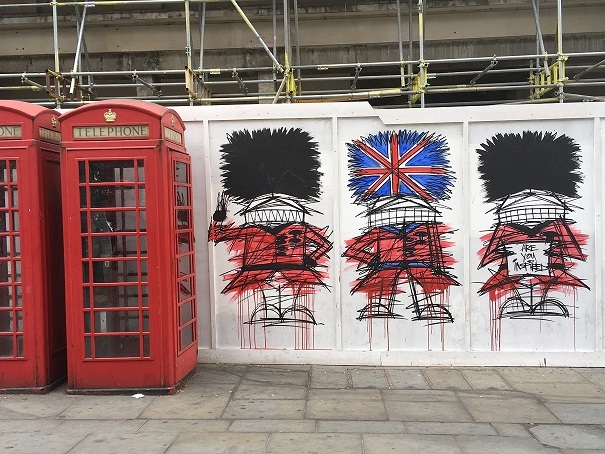 Graffiti in London, near Trafalgar Square.