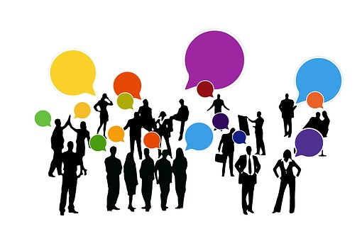 Cartoon of groups of people networking with coloured speech bubbles