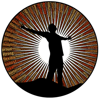 silhouette of a man surrounded by values such as hones, flexible and thoughtful