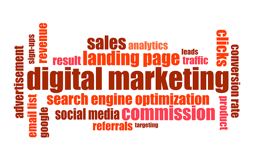 Digital marketing doodle including terms like SEO, landing page, clicks, analytics