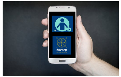 A smartphone showing the Icon for the Professional Training module on the Surrey Pathfinder app