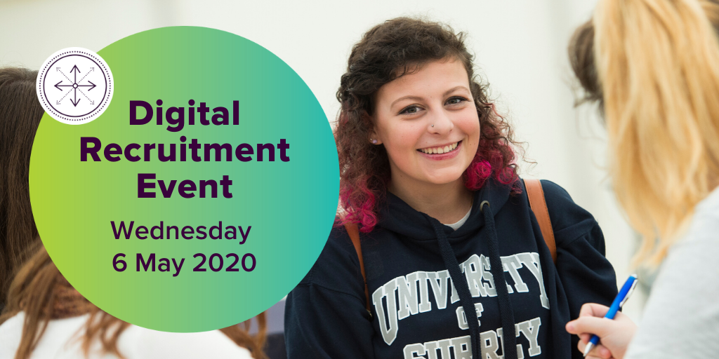 Poster for the Digital Recruitment Event at University of Surrey on Wednesday 6 May 2020