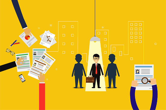 Illustration of job seeking candidates and CVs