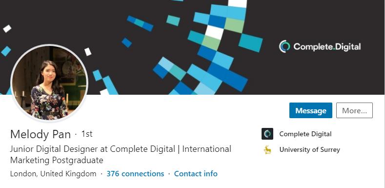A screenshot of Melody's LinkedIn profile page