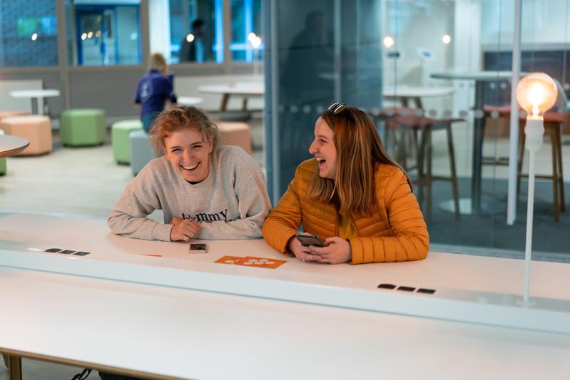 Students chatting in MySurrey Hive