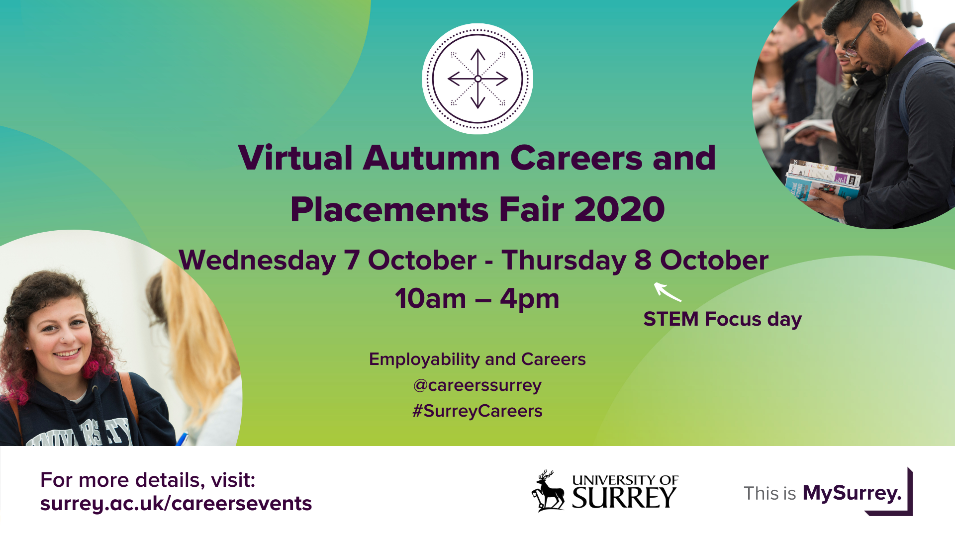 A poster for the Virtual Autumn Careers and Placements Fair on 7 and 8 October 2020