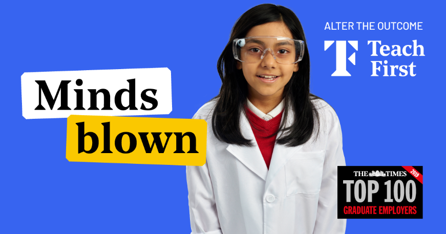 young girl in a lab coat and safety goggles.  Minds Blown titles the image