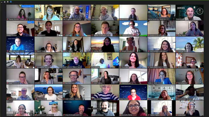 A zoom call with 49 participants showing