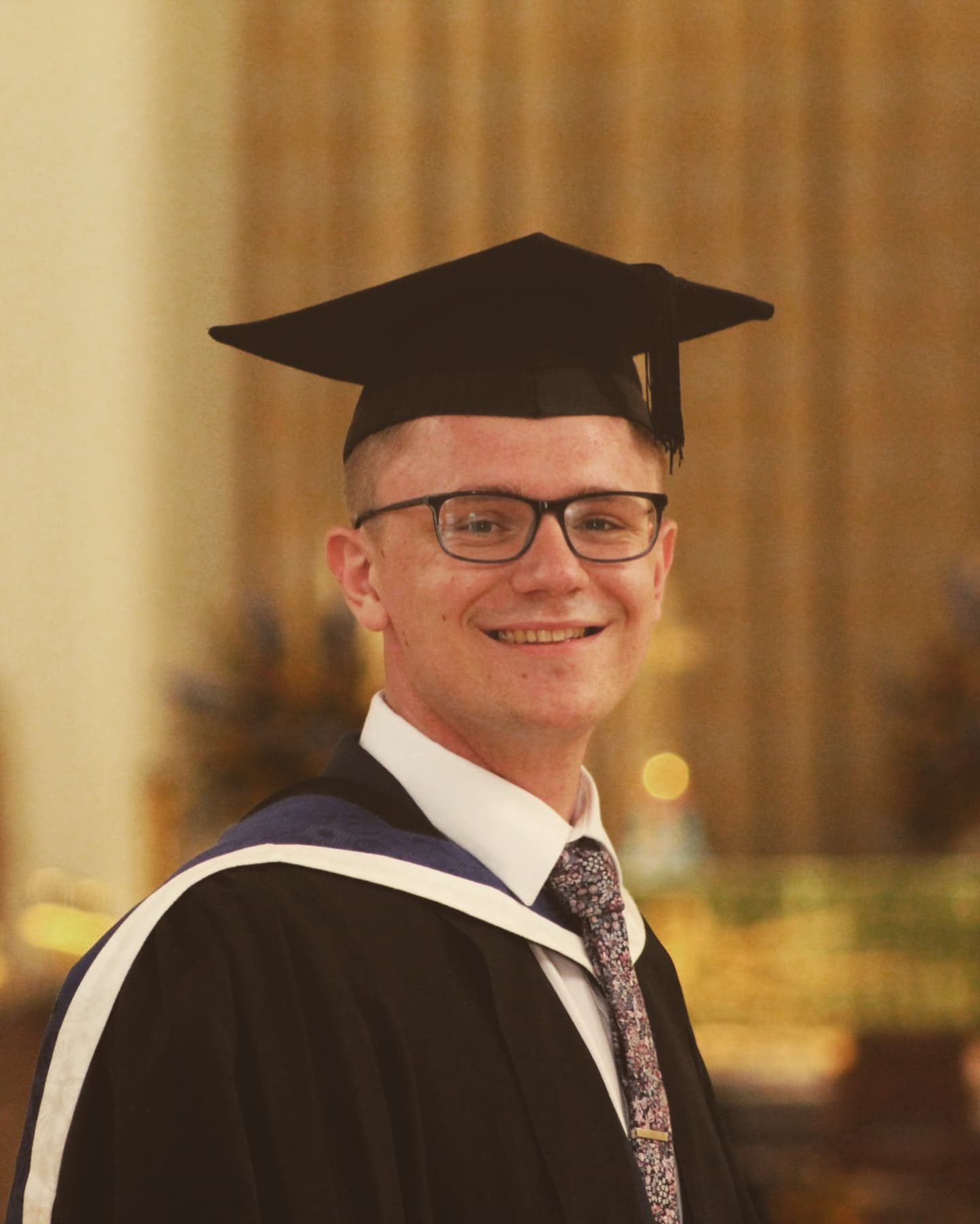 Ben Uden at his graduation from the University of Surrey. Ben won the faculty student of the year award for his placement at London Symphony Orchestra