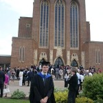 Owen outside Guildford cathedral