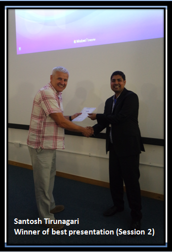 Santosh Tirunagari receiving ICIVC 2016 Best Presentation Award
