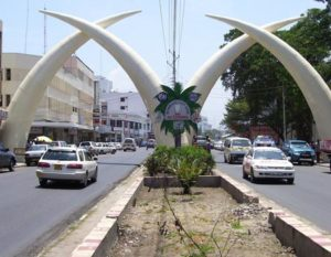 A better view of the tusks on main road into Mombasa