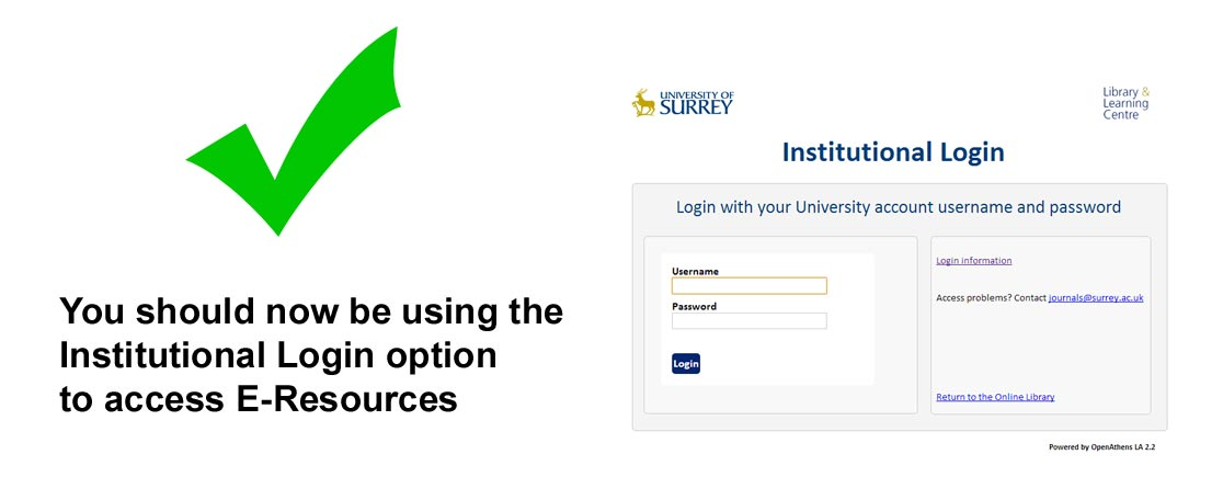 You should now be using Institutional Login