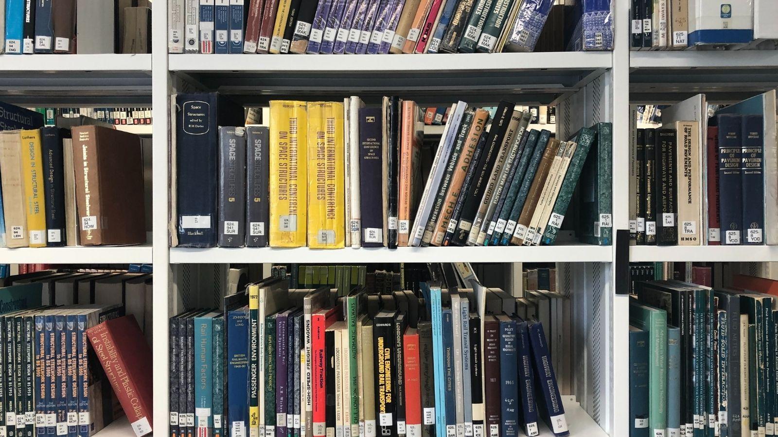 Library books on bookshelves