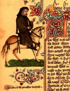 Portrait of the Pilgrim Chaucer from Huntingdon Library MS. EL 26 C 9: Ellesmere Manuscript, folio. 153 V