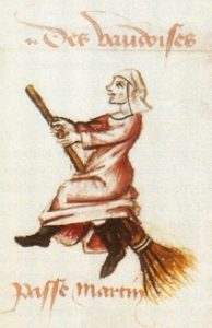 """Sélection d'une miniature/ Hexenflug der """"Vaudoises"""" (hier Hexen, ursprünglich Waldenser) auf dem Besen, Miniatur in einer Handschrift von Martin Le France, Le champion des dames, 1451"""