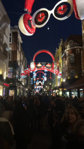 One of the many Christmas decorations near Oxford Street