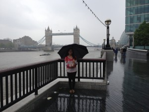 Tower Bridge (it poured that day but that didn't stop us from walking everywhere!)