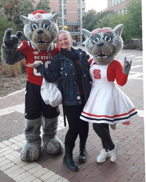 Kim, Mr and Mrs Wolf at NC State University Brickyard