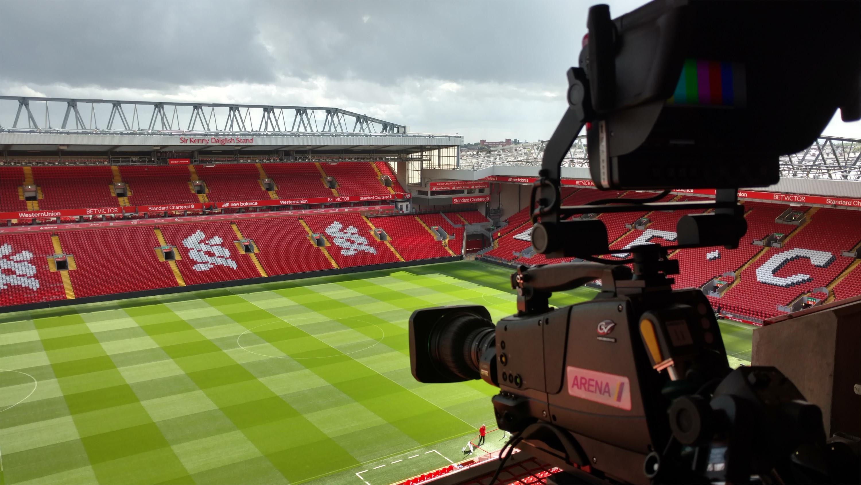 Television camera at Anfield Stadium, Liverpool