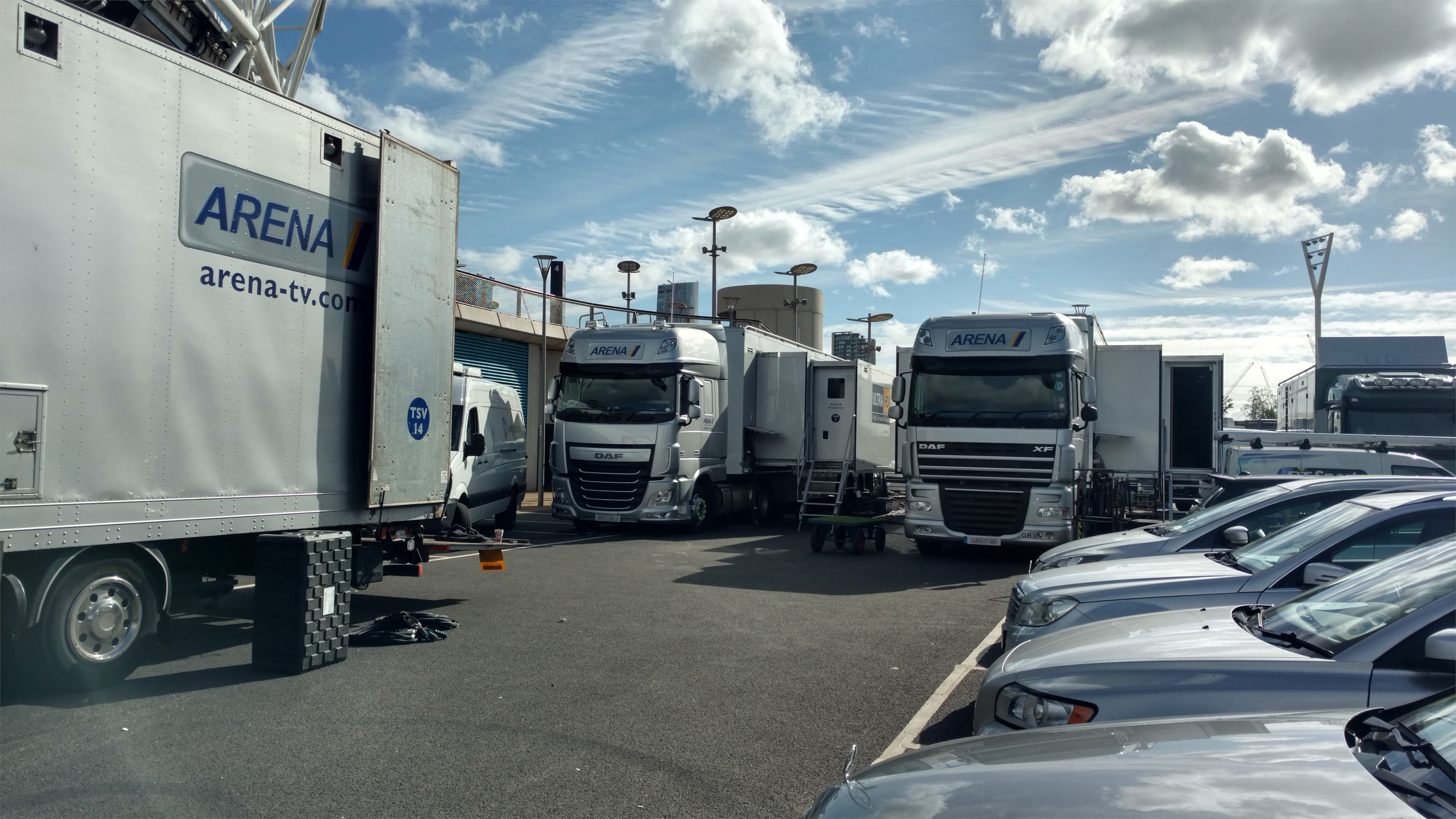 Selection of parked outside broadcast lorries