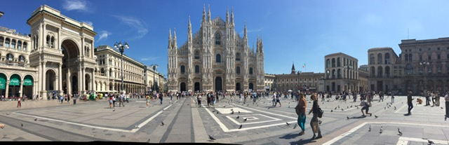 The Duomo Cathedral and main piazza in Milano