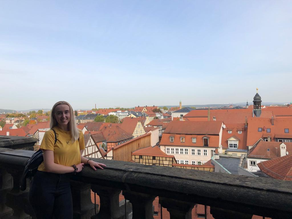 Image of me at the Rosengarten with views across Bamberg