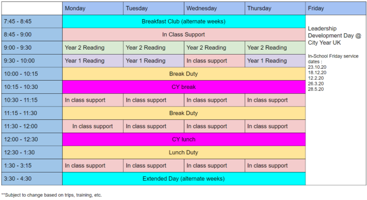 A timetable of my work in schools from Monday to Thursday and Leadership Development Days every Friday, starting from 7:45am-4:30pm.
