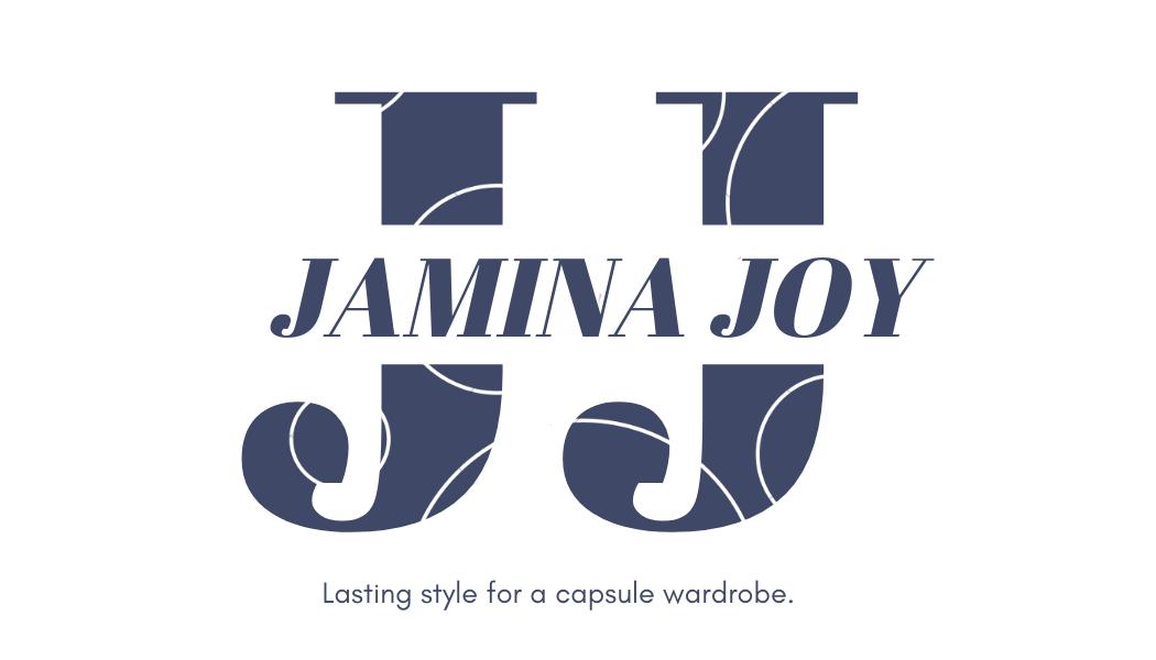 JAMINA JOY logo. Lasting style for a capsule wardrobe.