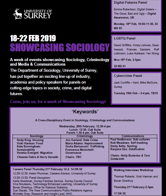 Showcasing Sociology: 18th-22nd February 2019 | Department