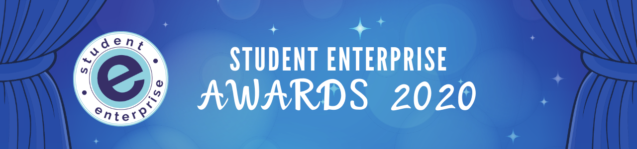 "Blue stage curtains open to show the Student Enterprise logo and the Title ""Student Enterprise Awards 2020"""