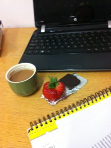 Revision snacks = Coffee in a flask, strawberries and chocolate!