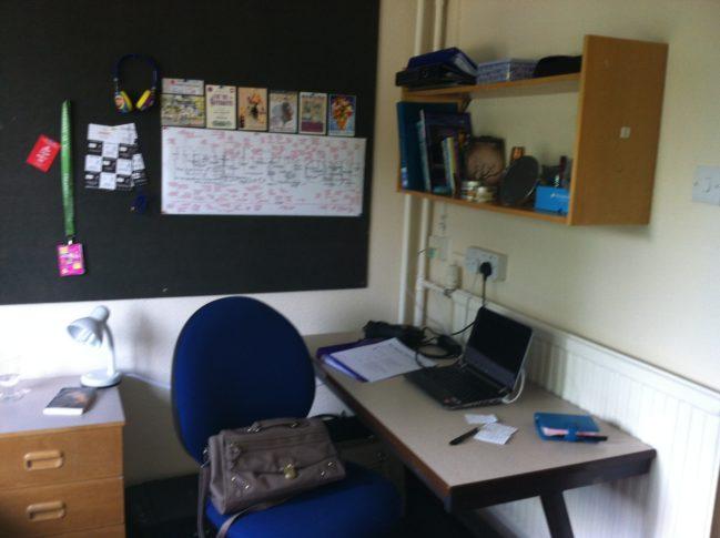 Katie student halls desk area
