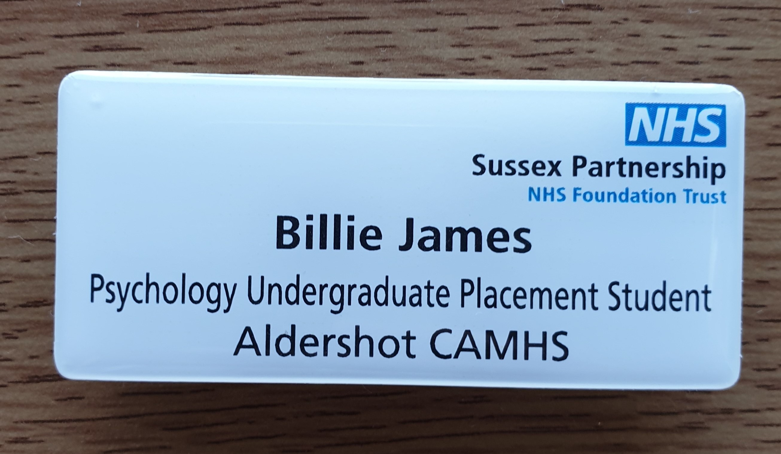 Photo of Billie's placement badge from her placement