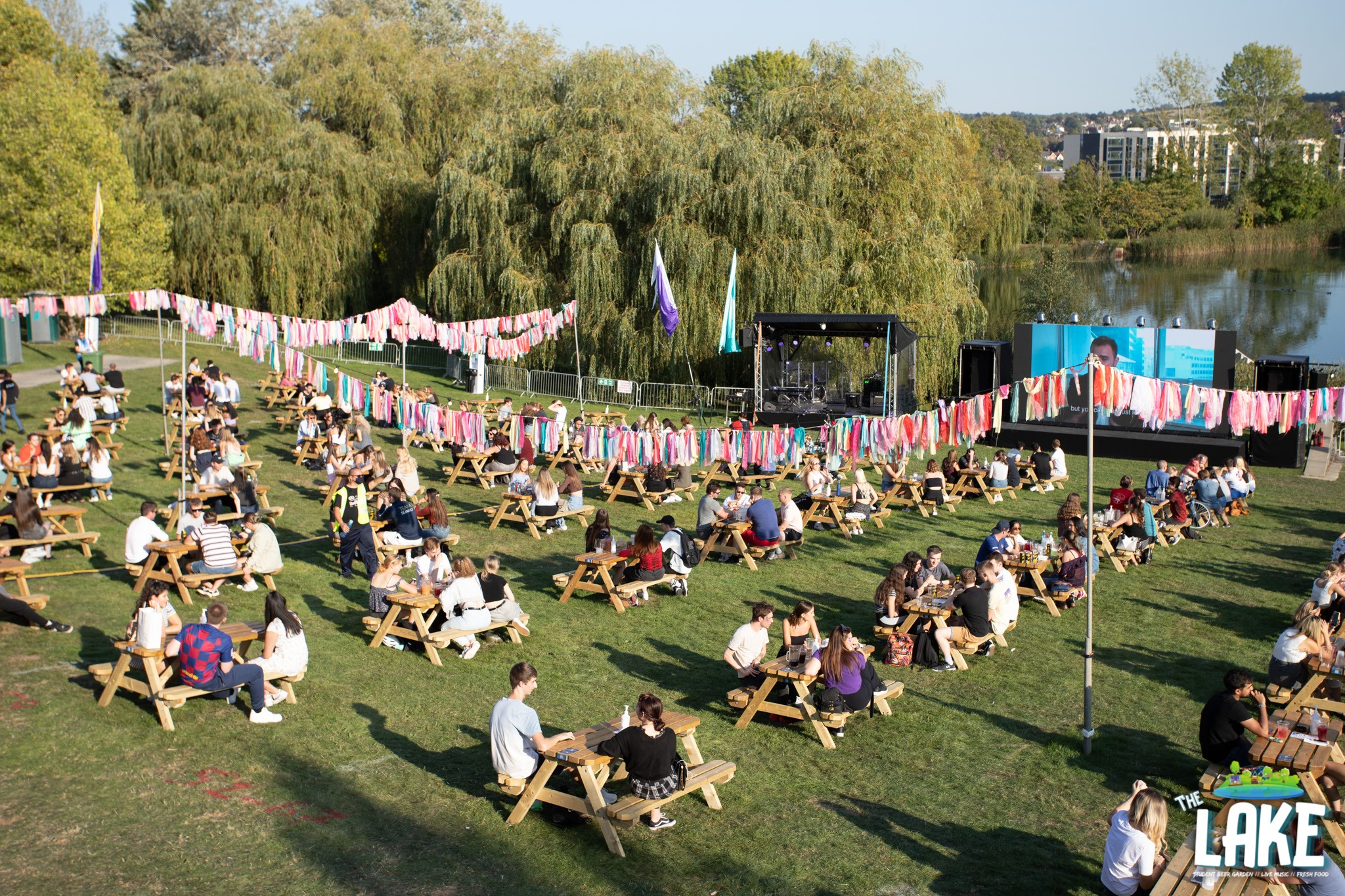 USSU University of Surrey Lake Venue Outdoor seating and cinema for Freshers week 2020 COVID safe and secure venue and event
