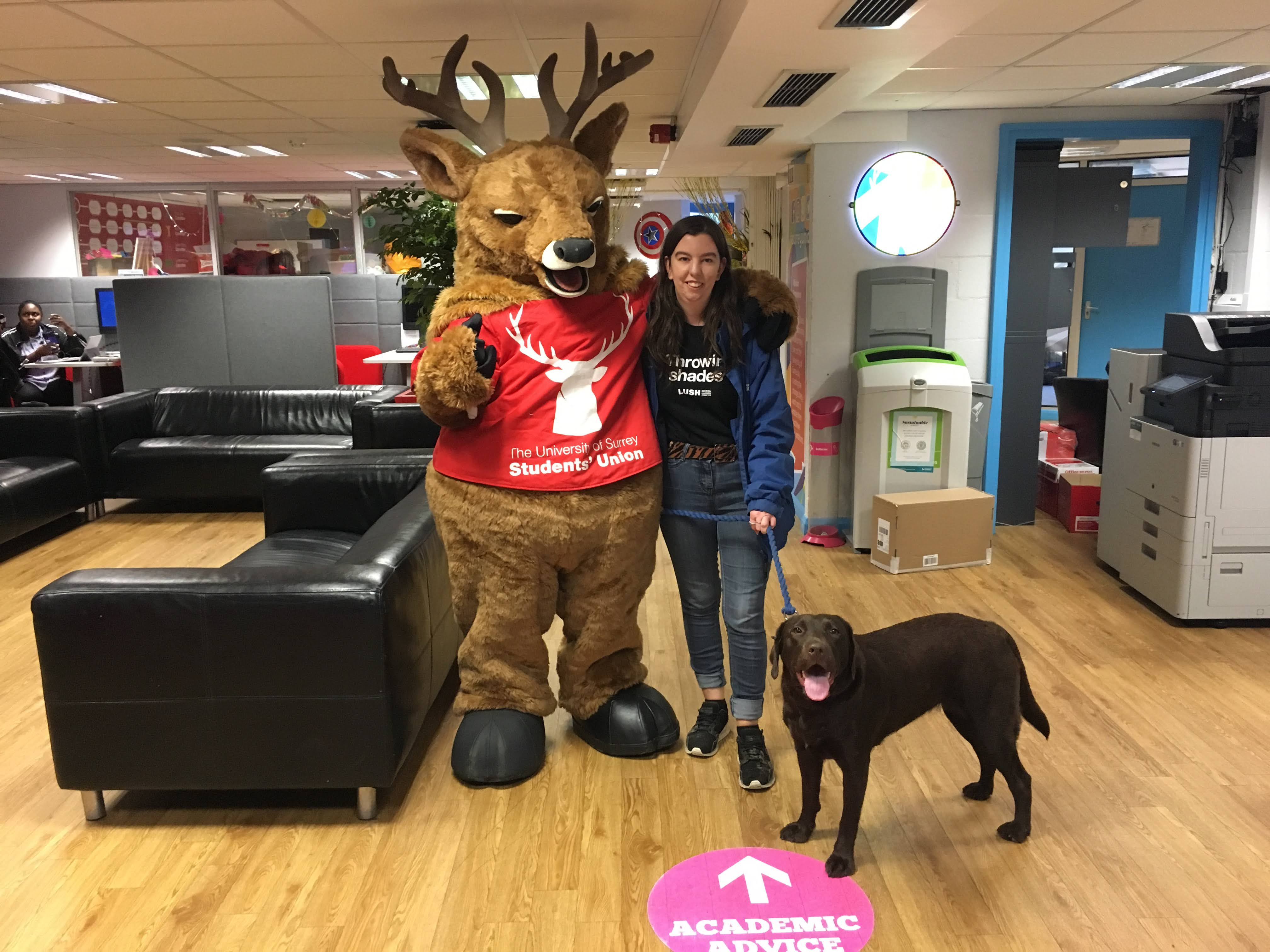Steve the Stag University of Surrey Student Union mascot with dog