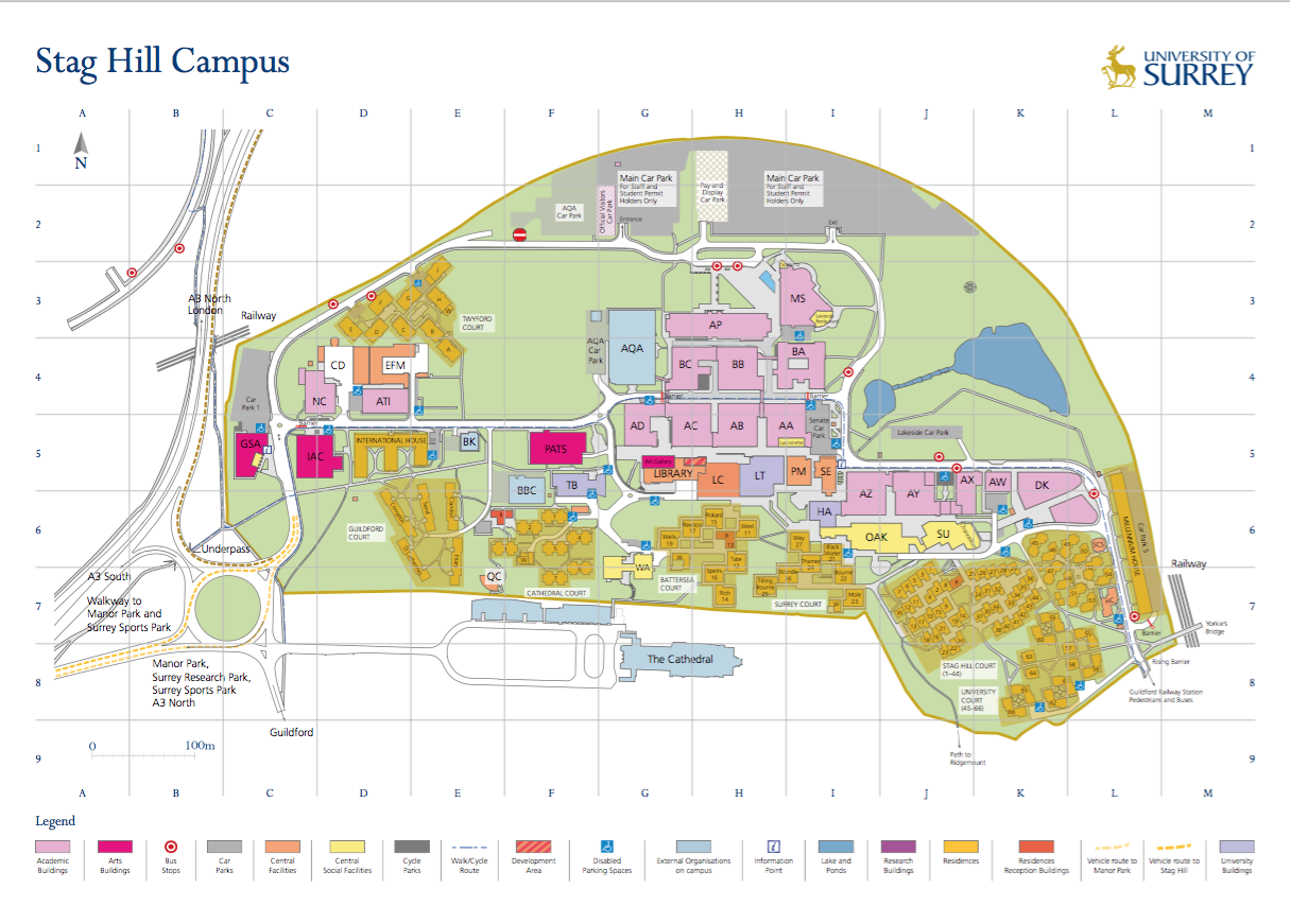 Surrey University Map Accommodation at University of Surrey | Surrey meets Thailand Surrey University Map
