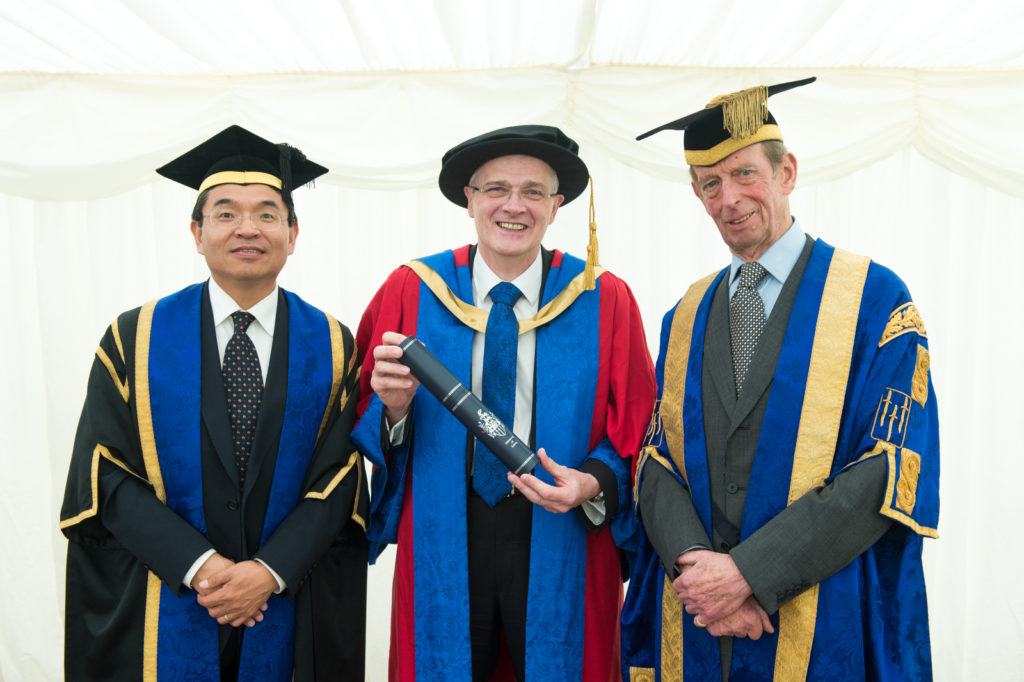 With HRH The Duke of Kent and Sir Chris Snowden on receiving his Honorary Degree